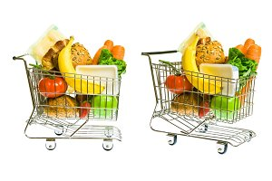 Shopping Cart With Mixed Groceries