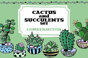 Cactus and succulent set constructor