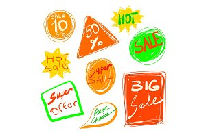 Sales stickers pack. Vector hand drawn collection. Super offer, Hot and Best Choice.