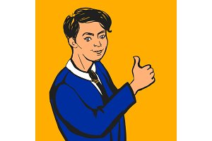 Smiling businessman making thumbs up sign. Vector illustration.
