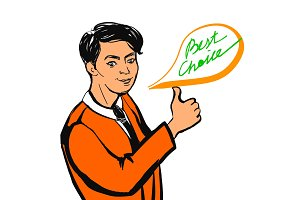 Smiling businessman making thumbs up sign and Best Choice text. Vector illustration.
