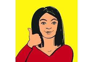 Smiling young woman making thumbs up sign. Vector illustration.
