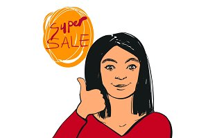 Smiling young woman making thumbs up sign and Super Sale text. Vector illustration.