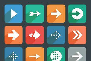 Arrow sign Flat icon set.