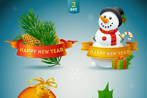 Happy New Year and Christmas Icons