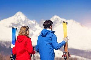 Young couple skiing