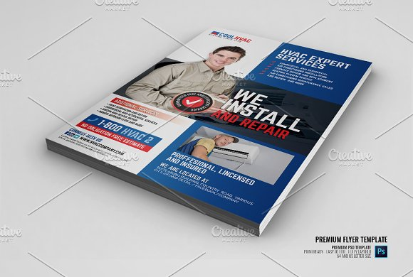 Heating And Cooling Hvac Flyer Flyer Templates Creative Market