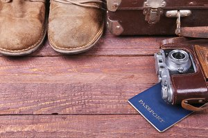 Travel concept with Vintage suitcase