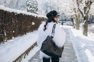 Fashionable woman in winter