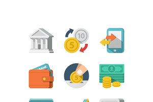 Money Flat Icon Set for Web and Mobi