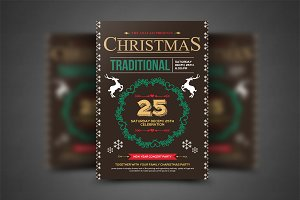 Retro Christmas Party Flyer Template