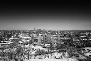 Horizontal black and white Moscow city suburbs background