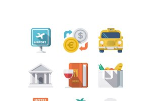 Traveling and Transport Flat Icons1