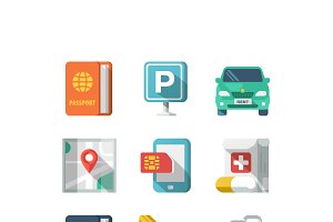 Traveling and Transport Flat Icons2