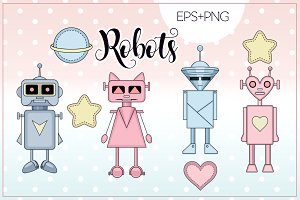 "Illustrations ""Robots"" Pink/Blue"