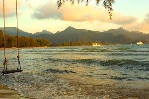 beautiful sea ocean landscape with swing