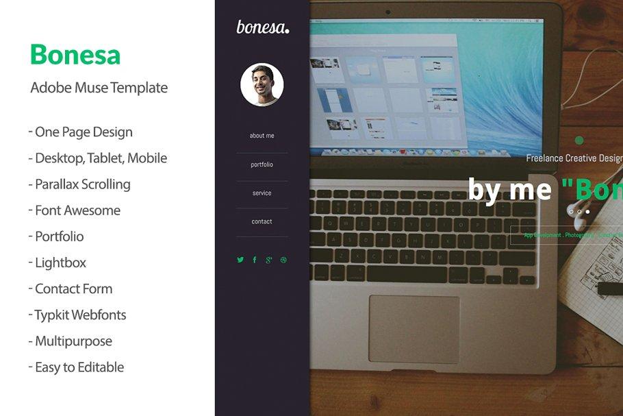Bonesa Portfolio One Page Adobe Muse Website Templates Creative - Adobe muse website templates