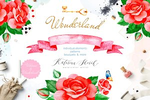 Wonderland. Watercolor collection.