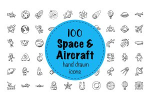 100 Space And Aircrafts Doodle Icons