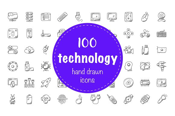 100 Technology Doodle Icons