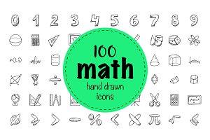 100 Mathematics Doodle Icons