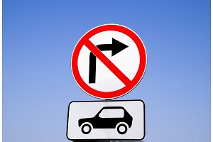 Traffic sign turn right for car transport is prohibited