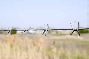 Barbed wire. Barbed wire fencing. The constraint symbol.