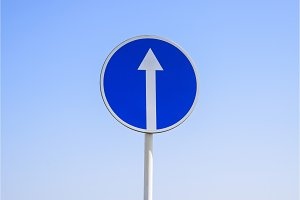 Traffic sign straight ahead. prescriptive sign. Sign on a blue sky background.