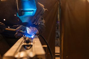 Welder in the factory.