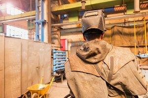 Welder in the factory.