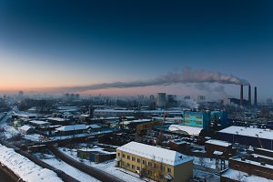 Many buildings and factories. A work