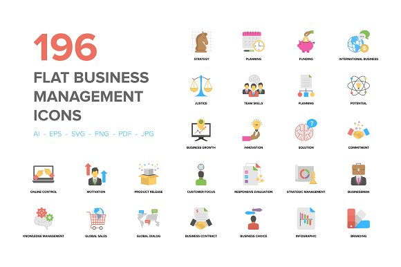 Flat Business Management Icons