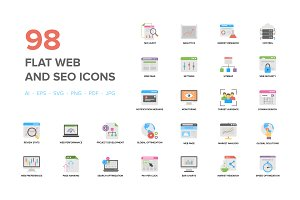 Flat Web And Seo Icons