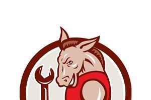 Donkey Mechanic Spanner Mascot Circl