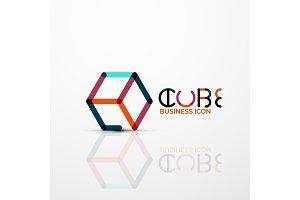 Cube idea concept logo, line