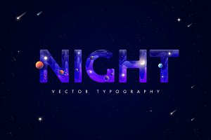 Night. Creative typography