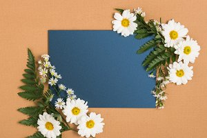 Blue Invitation with White Flowers