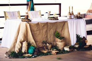 Wedding table in rustic style.