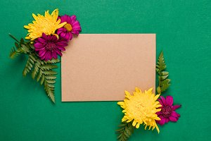 Green Invitation with Flowers