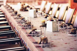 Rustic decoration of a banquet table
