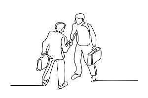 Two businessmen meeting handshake