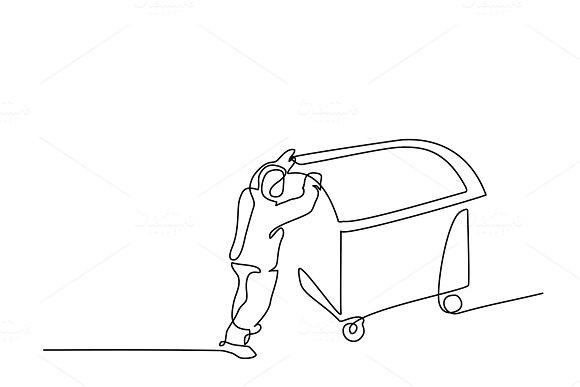 Man Push Garbage Can