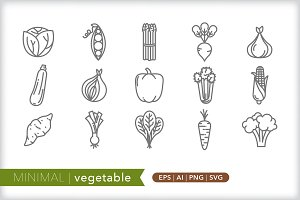 Minimal vegetable icons