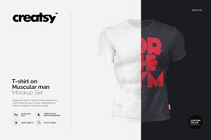 T-shirt on Muscular Man Mockup Set