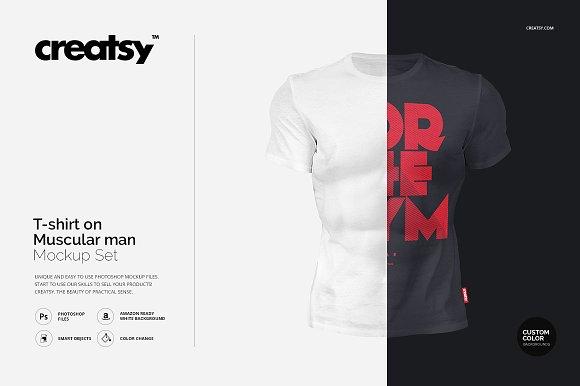 T-shirt on Muscular Man Mockup Set