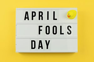 Text April Fool's day in light box