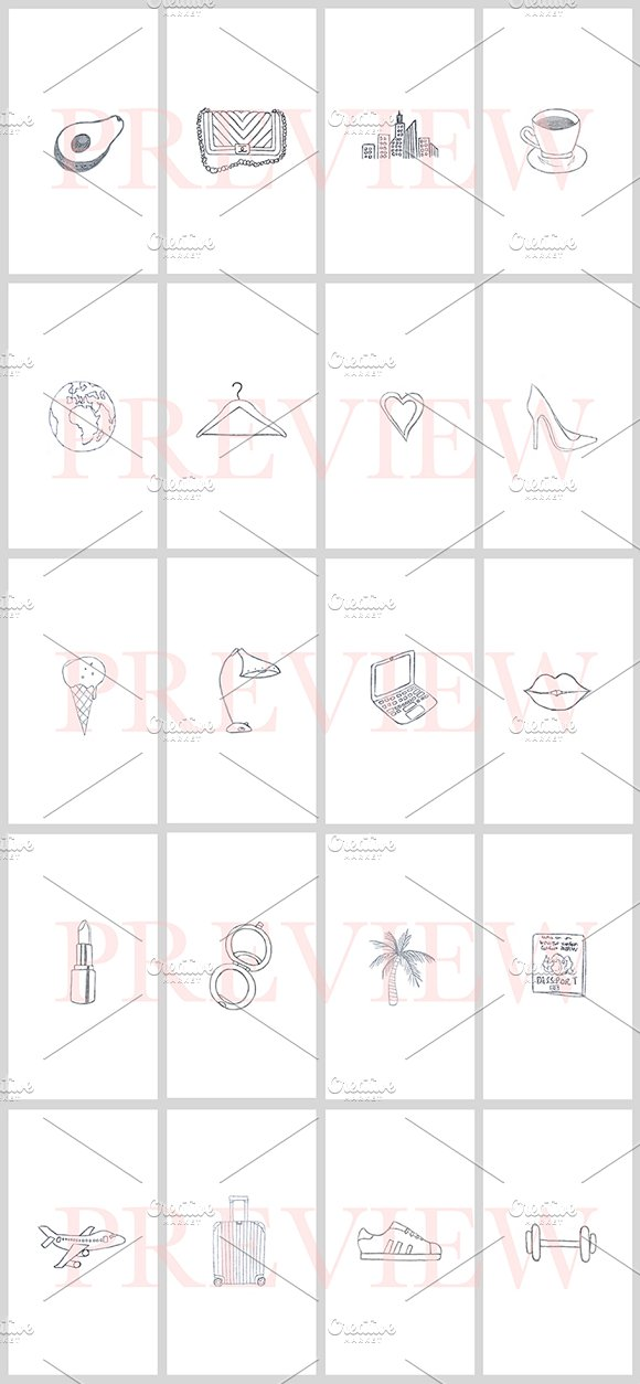 40 Instagram Story Icons Hand Drawn in Instagram Templates - product preview 2