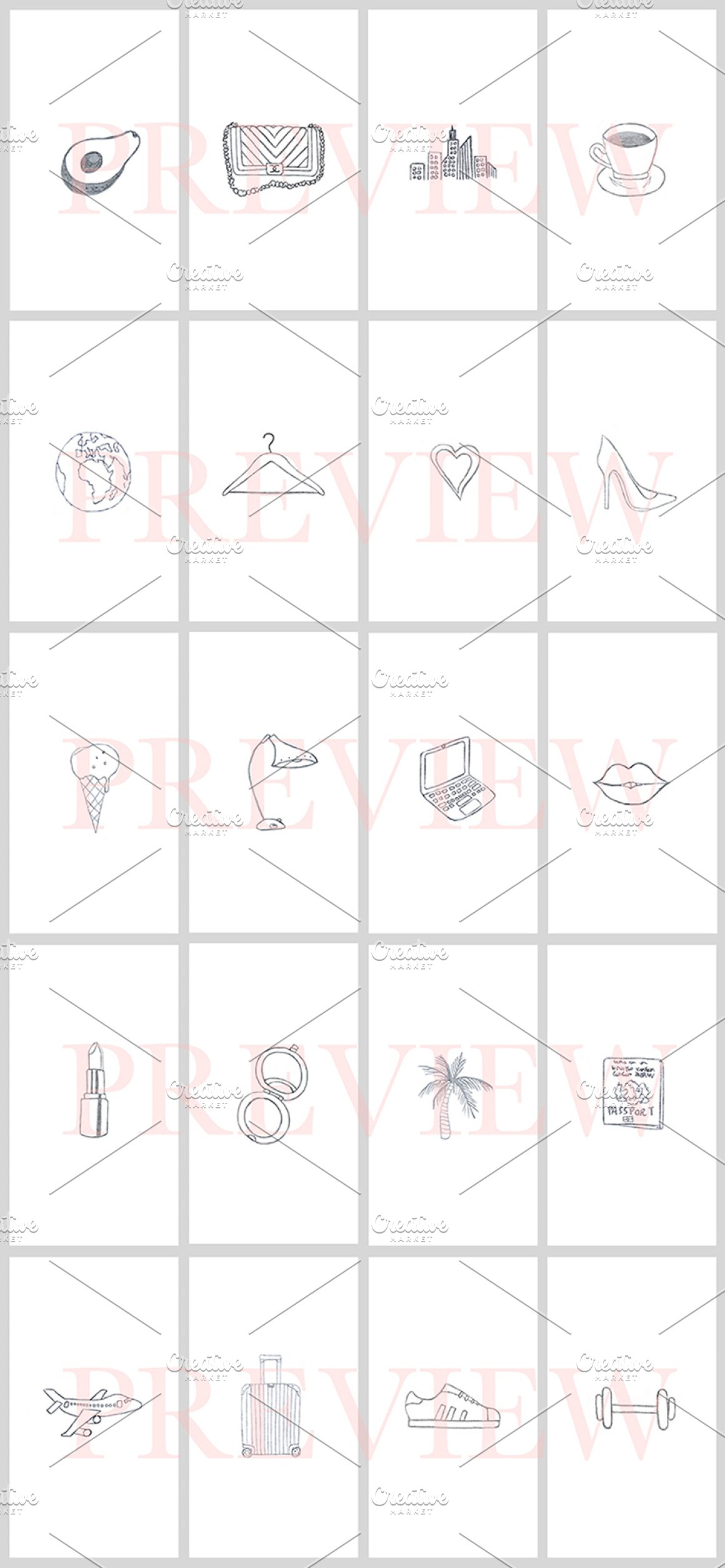 40 Instagram Story Icons Hand Drawn