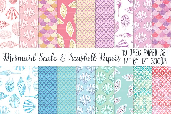Mermaid Scale Seashell Papers