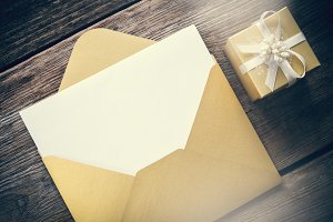 Envelope and gift box.